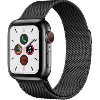 Apple Watch Series 5 Cellular 40 mm Boîtier en Acier Inoxydable Noir Sidéral avec Bracelet Milanais Noir Sidéral - S/M