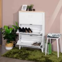 LIVERPOOL Meuble a Chaussures - Métal blanc et décor chene - L 65,5 x P 15,5 x H 105 cm