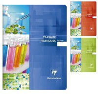 CLAIREFONTAINE - Cahier Travaux Pratiques piqûre - 24 x 32 - 120 pages Seyes + uni - Couverture pelliculée - 3 couleurs aléatoir