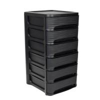 EDA PLASTIQUE Tour de rangement - Décor Stone - Avec 6 petits tiroirs de 7 L - Dimensions 32 x 37 x 62 cm - Noir