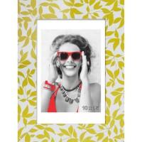FEUILLES Cadre photo MDF 10x15 cm Blanc et jaune
