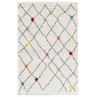 WOLLY Tapis de salon Shaggy - Style berbere - 160 x 230 cm - Creme et Multicolor - Aspect laineux