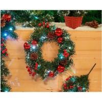 Couronne lumineuse de Noël 10 LED en PVC - Ø 30 cm - Vert et rouge
