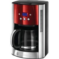 Russel Hobbs 23240-56 Machine a Café Cafetiere Filtre Luna 1.8L Inox 12 Tasses Programmable Auto-Nettoyante - Rouge