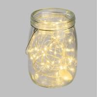 Pot en verre Ø15,5 cm avec guirlande de 40 MicroLED lumiere fixe blanc chaud