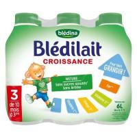 BLEDINA Blédilait Croissance 3eme âge - 6x1 L - De 10 mois a 3 ans
