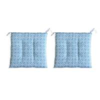 O'CBO Lot de 2 galettes de chaises Relax Geometrico - 38 x 38 cm - Bleu azur