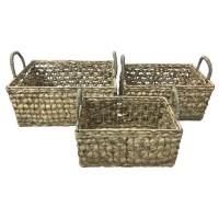 HOMEA Lot de 3 paniers tréssés en jacynthe d'eau - 32 x 32 x 17 cm / 37 x 37 x 19 cm / 42 x 42 x 20 cm - Naturel