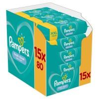 PAMPERS Lingettes bébé FRESHCLEAN - Lot de 15 x 80 lingettes - 1200 lingettes