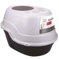MPETS Maison de toilette Tanta - 63x49x42 cm - Noir et Blanc - Pour chat