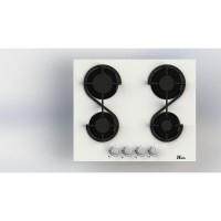 HUDSON HTG 4 VB - Table de cuisson gaz - 4 foyers - L 60 cm - Revetement verre - Blanc