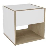 TITAN Table de Chevet 1 tiroir 1 niche - Décor chene et blanc - L 36,8 x H 37,8 x P 36,3 cm