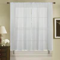 Paire de voilage vitrage a rayures verticales - 2*90x120cm - 100% polyester