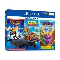 PS4 Slim 1To Black + Crash Team Racing + Spyro Reignited Trilogy + Ratchet & Clank PlayStation Hits