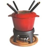 BAUMALU Service a fondue fonte émaillée - Rouge