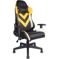 SHADOW Fauteuil de bureau gaming - Simili Noir et jaune - L 67 x P 69 x H 123/133 cm