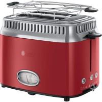 RUSSEL HOBBS 21680-56 Toaster Grille-Pain Rétro Vintage Température Ajustable Rapide Chauffe Viennoiseries Inclus - Rouge