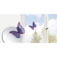 Lot de 7 papillons déco murale 3D - Transparent indigo - PVC