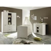 LANDI Chambre bébé complete : Lit 70*140 cm + Armoire + Commode - blanc