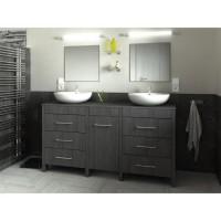 ERA Ensemble salle de bain double vasque L 150 cm - Décor bois Teck marine
