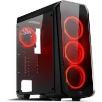 SPIRIT OF GAMER DEATHMATCH 8 - Boîtier GAMINg ATX - Full verre/métal - 4 led fans Rouges