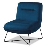TIM Fauteuil pieds métal - Velours bleu - L 64 x P 74 x H 75 cm