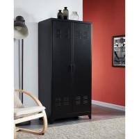 LIVERPOOL Armoire métal noir - L 85 x P 50 x H 180 cm