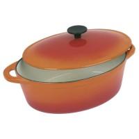 CREALYS GRAND CHEF Cocotte ovale en fonte d'acier émaillée - L 32 cm - 6,5 L - Orange - Tous feux dont induction