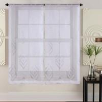 Paire de vitrages 60x160 cm Blanc avec motifs