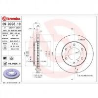 BREMBO Kit de Disque de frein 09.9996.10 - 2 pieces