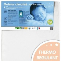 BABYCALIN Matelas Bébé Climatisé 60x120x12 cm - Traité Biome 20 kg/m3