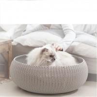 CURVER Panier de couchage rond aspect tricot Cozy Pet Bed - Pour chat et chiot
