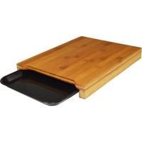 JOCCA Planche a découper bambou avec plateau 36x27,5x4 cm marron
