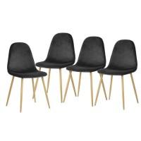 CHARLTON VELVET Lot de 4 chaises de salle a manger - Métal imprimé bois - Velours gris anthracite - Scandinave - L 43 x P 55 cm