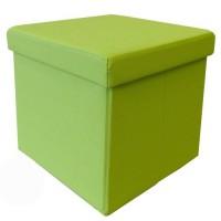 Pouf coffre de rangement pliable Santiago 35x35 cm vert