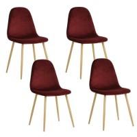 CHARLTON VELVET Lot de 4 chaises en métal imprimé bois - Revetement velours bordeaux - Contemporain - L 43 x P 55 cm