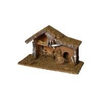 Creche de Noël vide mousse et écorces - H 24 cm