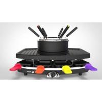 FAGOR FG816 Appareil combiné 3 en 1 raclette + fondue + grill - 1100W - capacité 1,5L - 8 poelons + 6 pics a fondue
