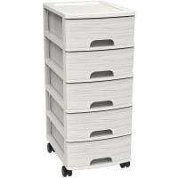 Meuble de rangement a roulettes 5 tiroirs - Blanc - 26,7 x 36 x 62,8 cm