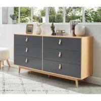 CAMBRIDGE Commode 6 tiroirs avec poignées en cuir gris anthracite et bois - L 158,5 x P 40 x H 80 cm