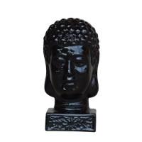 HOMEA Tete de bouddha émaillée déco - Ø 17 x H 33 cm - Noir