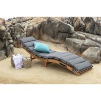 KOS Chaise longue courbée pliable en bois d'acacia - Matelas gris anthracite