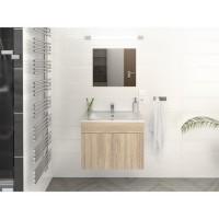 LIMA Ensemble salle de bain simple vasque L 60 cm - Décor chene sonoma