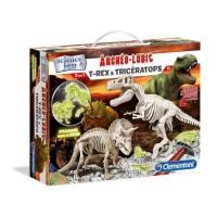 CLEMENTONI Archéo Ludic - T-Rex & Tricératops Phosphorescents - Science & Jeu