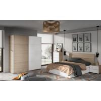 DREAMS Tete de lit + 2 Tables de chevet - Décor blanc brillant