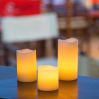 Set de 3 Bougies cire Ivoire - LED effet flamme - H 5, 7,5 et 10 cm - D 5cm