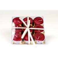 Set de 9 bougies de Noël T-Light pailletées en cire - Rouge - Ø 3.8 cm
