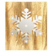 BLACHERE Tableau LED miroir Flocon de Neige 19 LED Blanc chaud - L 22 x I 3 x H 25 cm