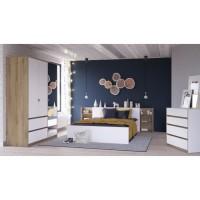 TITAN Ensemble Lit 140x190/200 cm + environnement + Tiroir de lit - Décor chene et blanc
