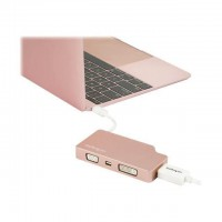 StarTech.com Adaptateur multiport USB-C - Or rose - 4-en-1 USB-C vers VGA, DVI, HDMI, ou Mini DisplayPort (CDPVDHDMDPRG)